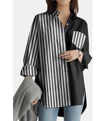 camicetta casual asimmetrica da donna con tasca con bottoni patchwork a righe