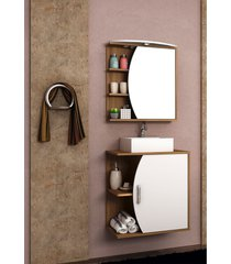conjunto para banheiro duna c/ cuba nogal cadiz/branco bosi - branco - dafiti
