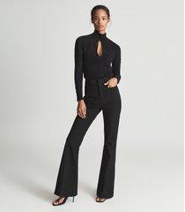 reiss corrine - high neck bodysuit in black, womens, size xl
