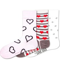 hearts bundle women's 3 pack organic cotton seamless toe novelty socks