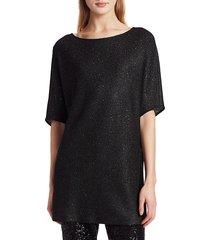 st. john women's honeycomb knit dolman sleeve tunic - caviar - size xs
