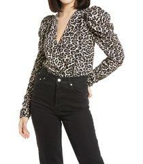 women's afrm danna puff sleeve bodysuit, size x-large - ivory