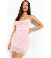 petite geplooide mesh mini jurk met waterval hals, blush