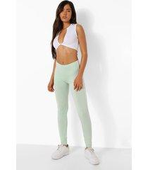 basic mintgroene leggings met dubbele zijstreep, mint