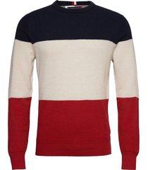 color block sweater stickad tröja m. rund krage multi/mönstrad tommy hilfiger