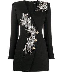 balmain beaded-embellished blazer style dress - black