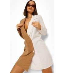 oversized gesplitste blazer jurk met krijtstrepen, ivory