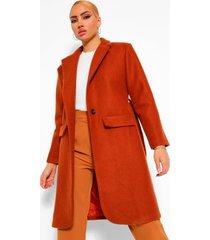 shoulder pad detail wool look coat, rust