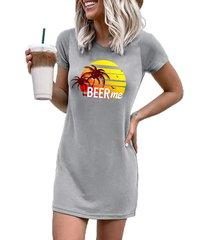 camiseta gráfica gris cuello mangas cortas vestido