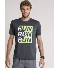"camiseta masculina esportiva ace ""run"" manga curta gola careca cinza mescla escuro"