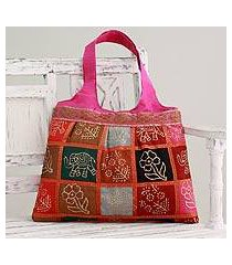 embellished tote handbag, 'fuchsia in kutch' (india)