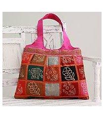 embellished tote handbag, 'fuchsia in kutch' (india)