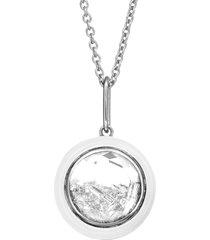round black white enamel and diamond shaker necklace