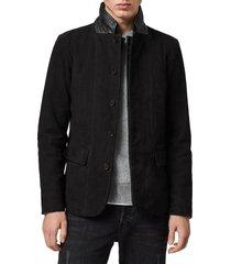 men's allsaints survey regular fit leather blazer
