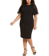 calvin klein plus size chiffon-sleeve sheath dress