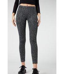 calzedonia glitter animal print leggings woman grey size m
