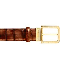 pakerson designer men's belts, ripa wood alligator leather belt w/ gold buckle