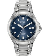 citizen eco-drive men's paradigm silver-tone super titanium bracelet watch 43mm