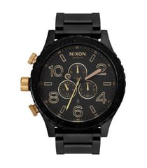 nixon 'the 51-30 chrono' watch, 51mm in matte black/gold at nordstrom