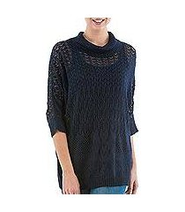 pullover sweater, 'evening flight in navy' (peru)