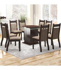 mesa de jantar 8 lugares zurique nogueira/dakota - viero móveis