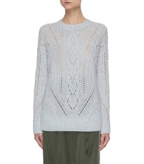cable knit merino wool cashmere blend sweater