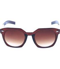óculos de sol prorider marrom e dourado com animal print