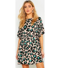 coloured leopard printed smock dress, turquoise