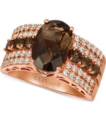 le vian chocolate quartz (3-3/4 ct. t.w.) & nude diamond (5/8 ct. t.w.) ring in 14k rose gold