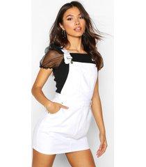denim dungaree pinafore dress, white