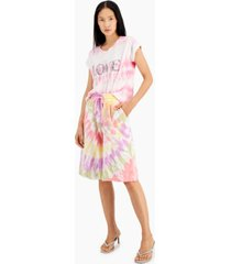 inc international concepts tie-dyed pull-on gaucho shorts, created for macy's