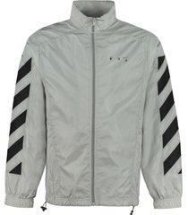 off-white techno fabric full-zip sweatshirt