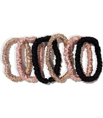 slip pure silk 6-pack skinny hair ties, size one size - white
