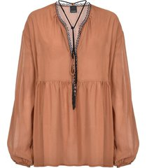 pinko beaded tassel blouse - neutrals