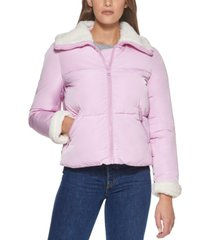 levi's sherpa trimmed puffer coat, created for macy's