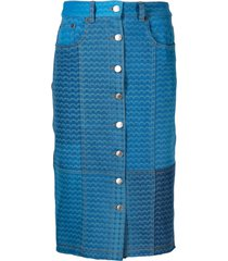 marine serre moonfish-print denim skirt