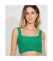 top cropped de tricô feminino alça larga decote reto verde