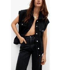 mango denim vest with pockets