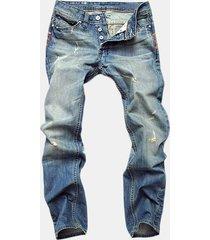 jeans straight in denim lavato