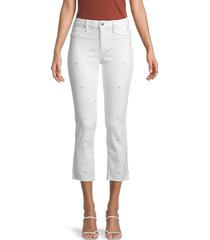 driftwood women's candace floral-embroidered cropped jeans - white - size 28 (4-6)