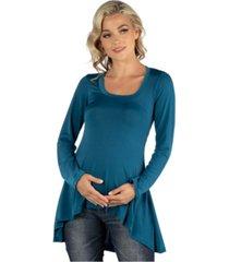 24seven comfort apparel simple long sleeve hi low maternity tunic top