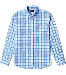 camisa manga larga cuadros con bolsillo para hombre - azul