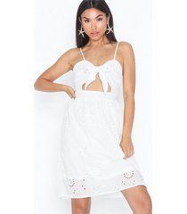 missguided tie front broderie midi dress skater dresses