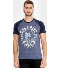 camiseta ecko estampada manga curta raglan masculina