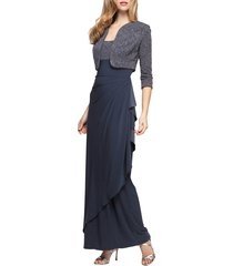 women's alex evenings draped gown with bolero