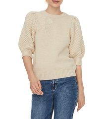 women's aware by vero moda nikita mixed stitch short sleeve sweater, size x-small - beige