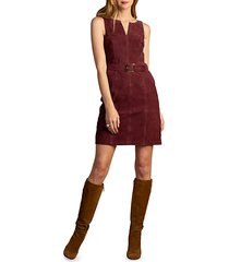 wine country sultana belted suede mini dress