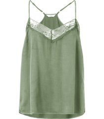 yaya 1901115-923 camisole singlet with lace groen