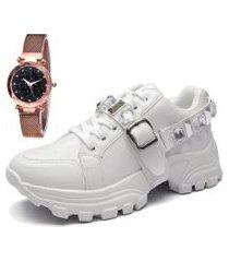 tênis sapatênis city com relógio gold feminino juilli 699li branco