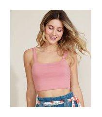 top cropped feminino alça média decote reto rosa